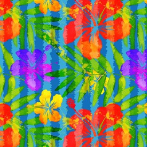 Colorful tropic flowers pattern