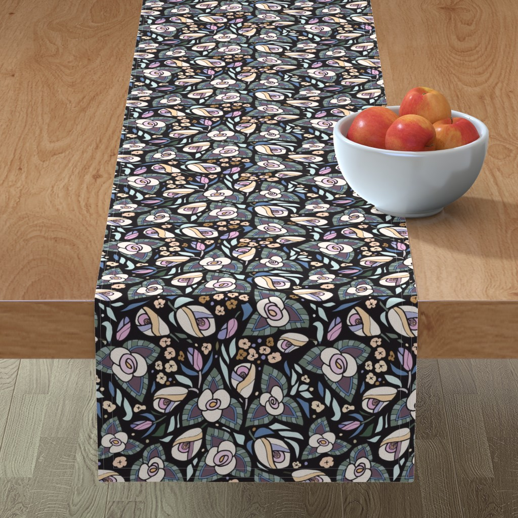 Minorca Table Runner featuring Rooftop Roses: Black, Mini by katie_hayes