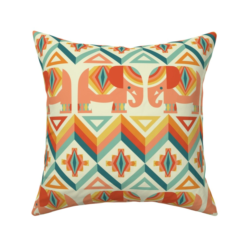 Catalan Throw Pillow featuring elephant kilim by cjldesigns