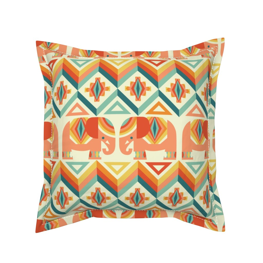 Serama Throw Pillow featuring elephant kilim by cjldesigns