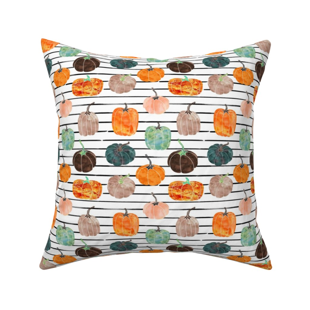 "Catalan Throw Pillow featuring 6"" Watercolor Pumpkins // Black and White Stripes by hipkiddesigns"