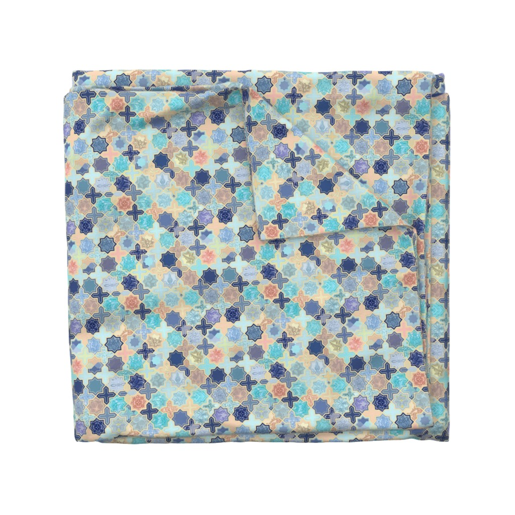 Wyandotte Duvet Cover featuring Navy, Peach and Aqua Moroccan Tile Pattern Small version by micklyn