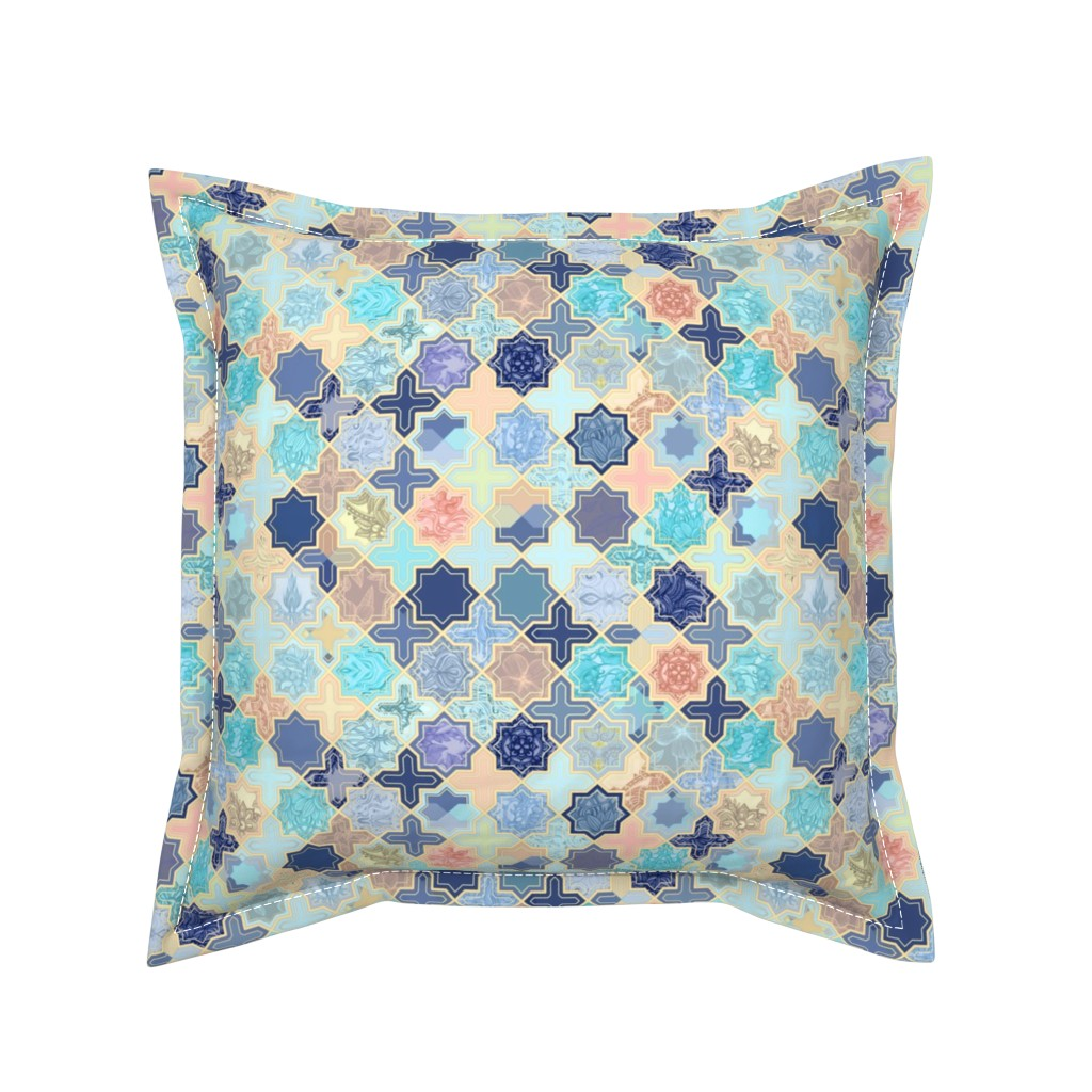 Serama Throw Pillow featuring Navy, Peach and Aqua Moroccan Tile Pattern Small version by micklyn