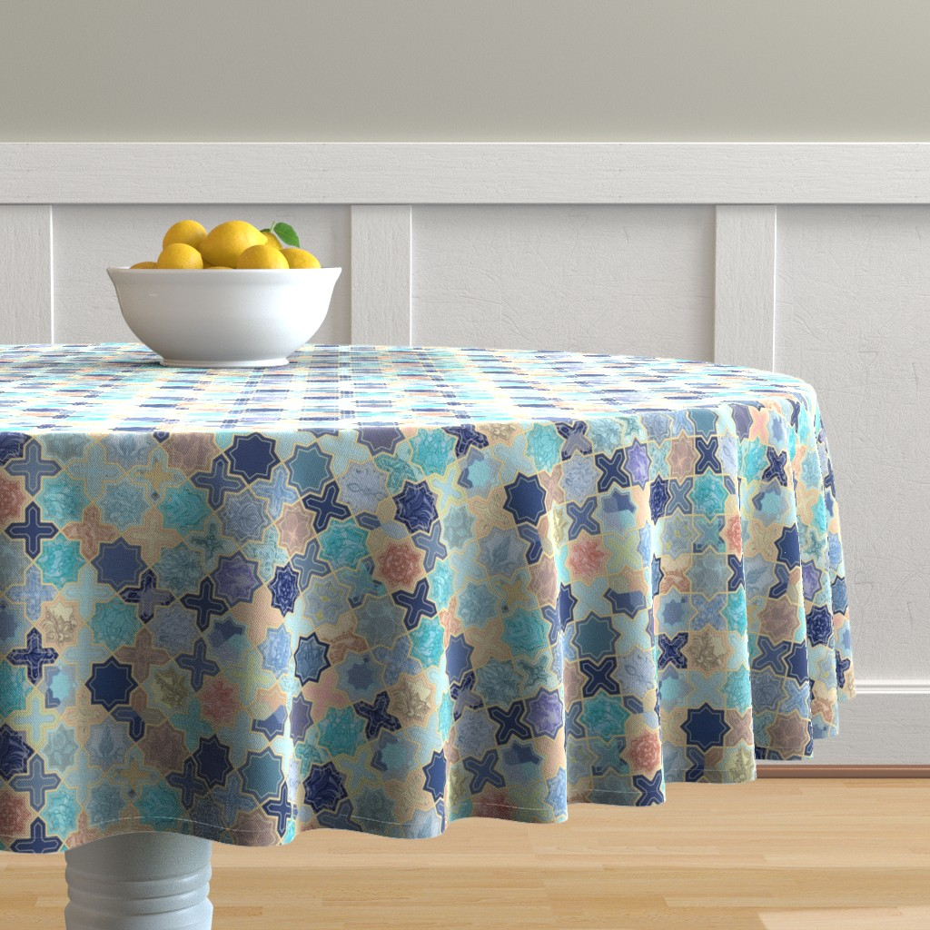 Malay Round Tablecloth featuring Navy, Peach and Aqua Moroccan Tile Pattern Small version by micklyn
