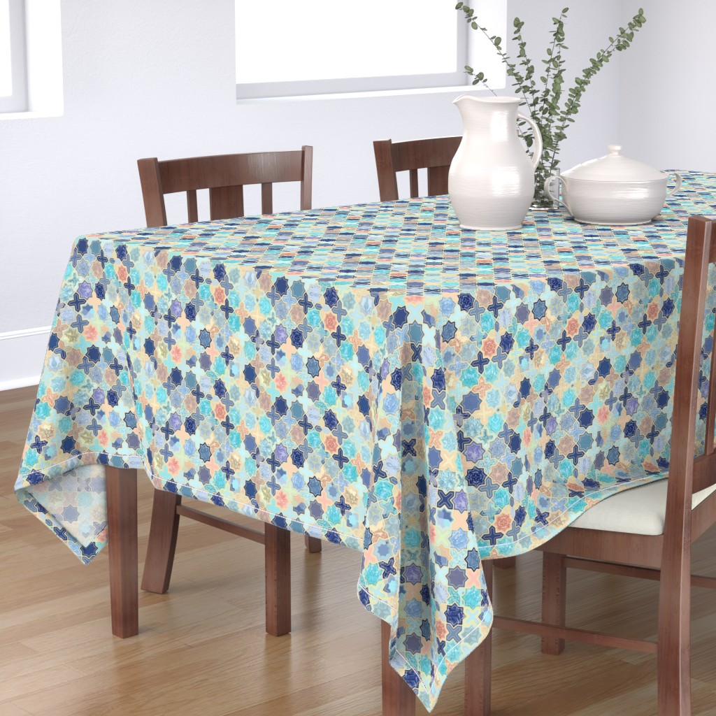 Bantam Rectangular Tablecloth featuring Navy, Peach and Aqua Moroccan Tile Pattern Small version by micklyn