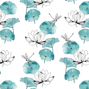 Waterlily dragonfly white