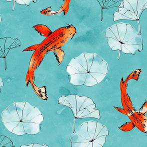 Waterlily koi in turquoise large scale