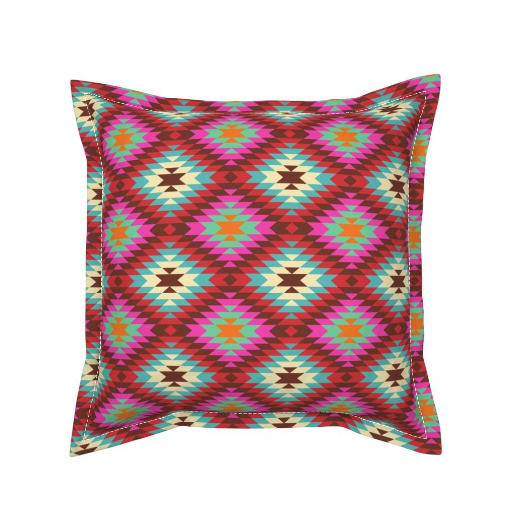 Serama Throw Pillow featuring Turkish Kilim Large Pattern by artsytoocreations