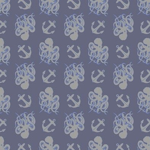 Octopus and Anchor SMALL blue