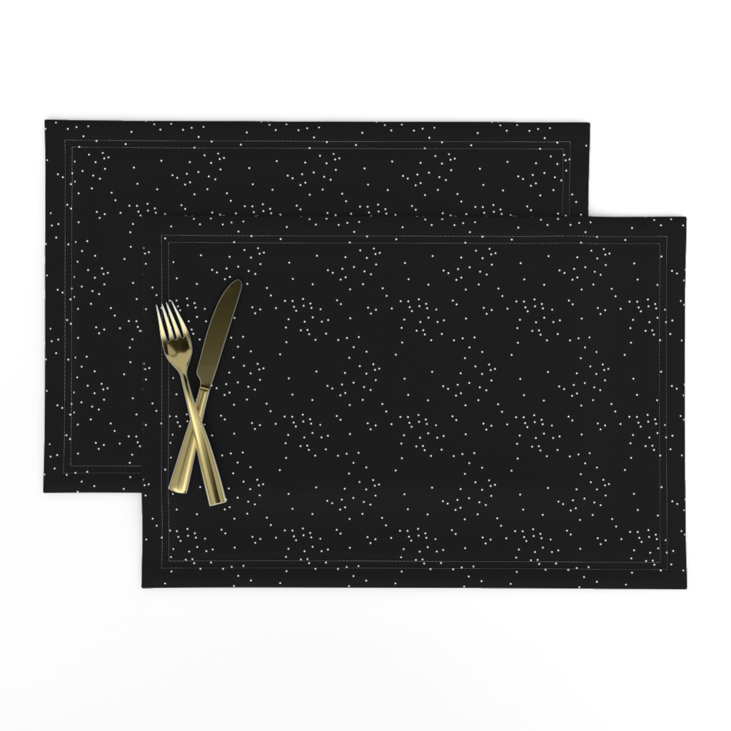 Lamona Cloth Placemats featuring Speckles on Black by longdogcustomdesigns