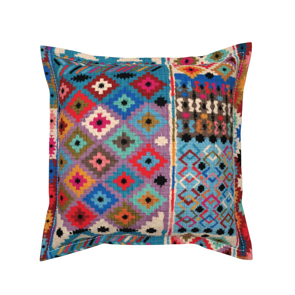Serama Throw Pillow featuring Kilim-Ikat  by leventetladiscorde