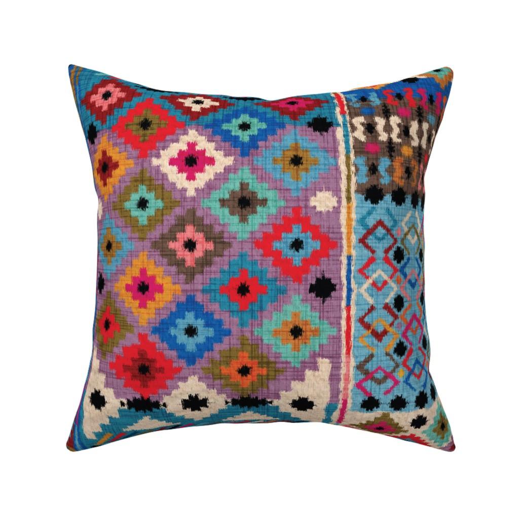 Catalan Throw Pillow featuring Kilim-Ikat  by leventetladiscorde