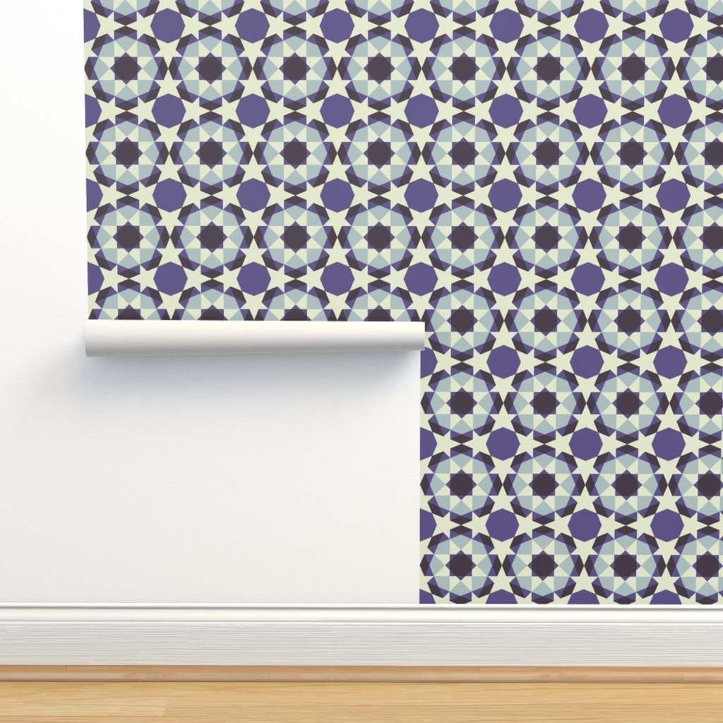 Isobar Durable Wallpaper featuring Eight pointed star - Dove grey, cream and charcoal on violet by cecca