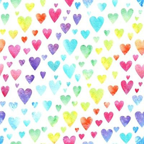 Watercolour Rainbow Hearts #2