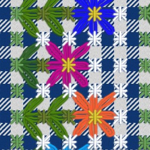 Chickenscratch Gingham Flower Border on Blue