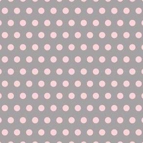 Pink on Grey Polka Dots