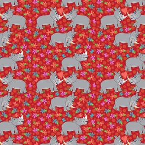 Rhino Love, hearts, flowers, I Love you, Red Fabric