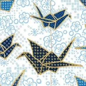 Blue Japanese Origami Crane and Cherry Blossom
