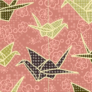 Rose and Olive Paper Cranes with Flowers