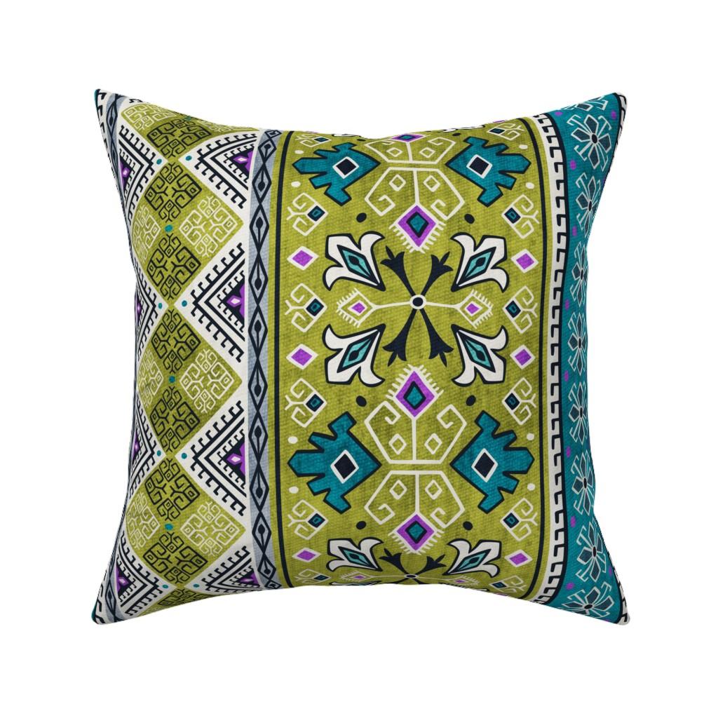 Catalan Throw Pillow featuring Grand Bazaar - Green Teal by heatherdutton