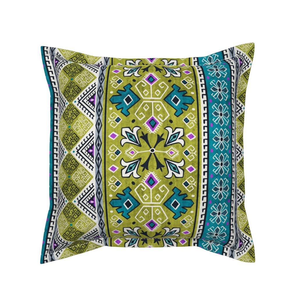 Serama Throw Pillow featuring Grand Bazaar - Green Teal by heatherdutton