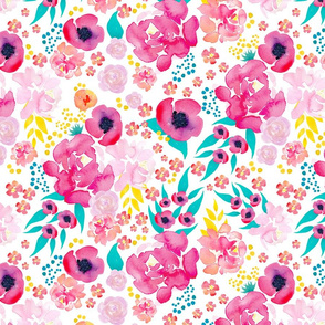 Large Scale Bright Watercolor Floral Teal Pink Yellow Orange
