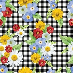 Black and White Gingham Summer Floral  Yellow and Red