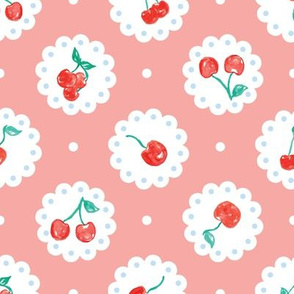 Vintage Red Cherries on Pink  Coral Doilies