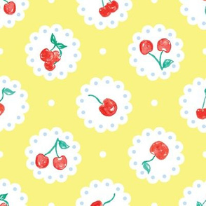 Vintage Red Cherries on Doilies Yellow