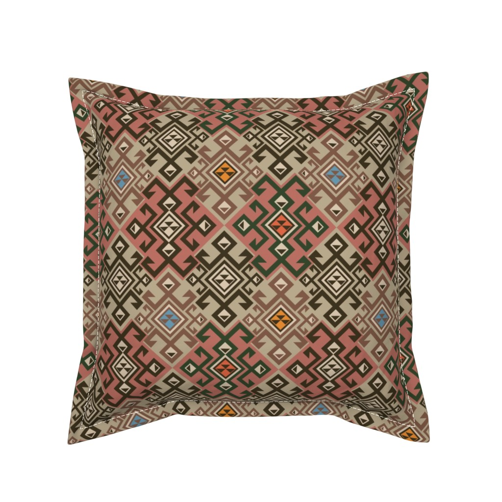 Serama Throw Pillow featuring Kilim by minyanna