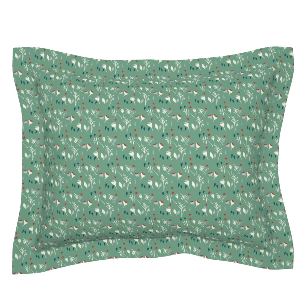 Sebright Pillow Sham featuring floral meadow-green by ali*b