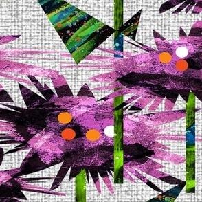flowers purple green gray tweed