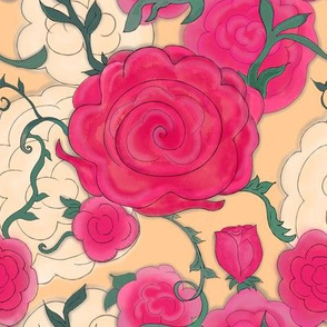 Project 607 | Watercolor Cottage Rose on Gold