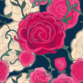 Watercolor Cottage Rose on  Dark Midnight Blue