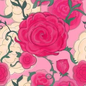 Project 607 | Watercolor Cottage Rose on Pink
