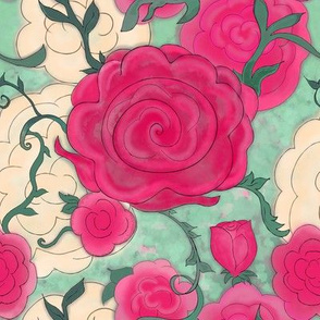 Project 607 | Watercolor Cottage Rose on Mossy Green
