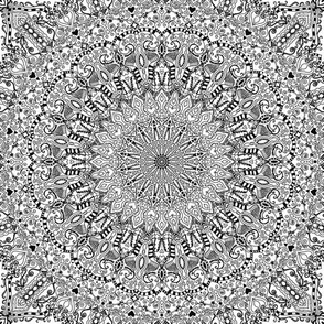 Mandala Project 603 | Black and White   Mandala
