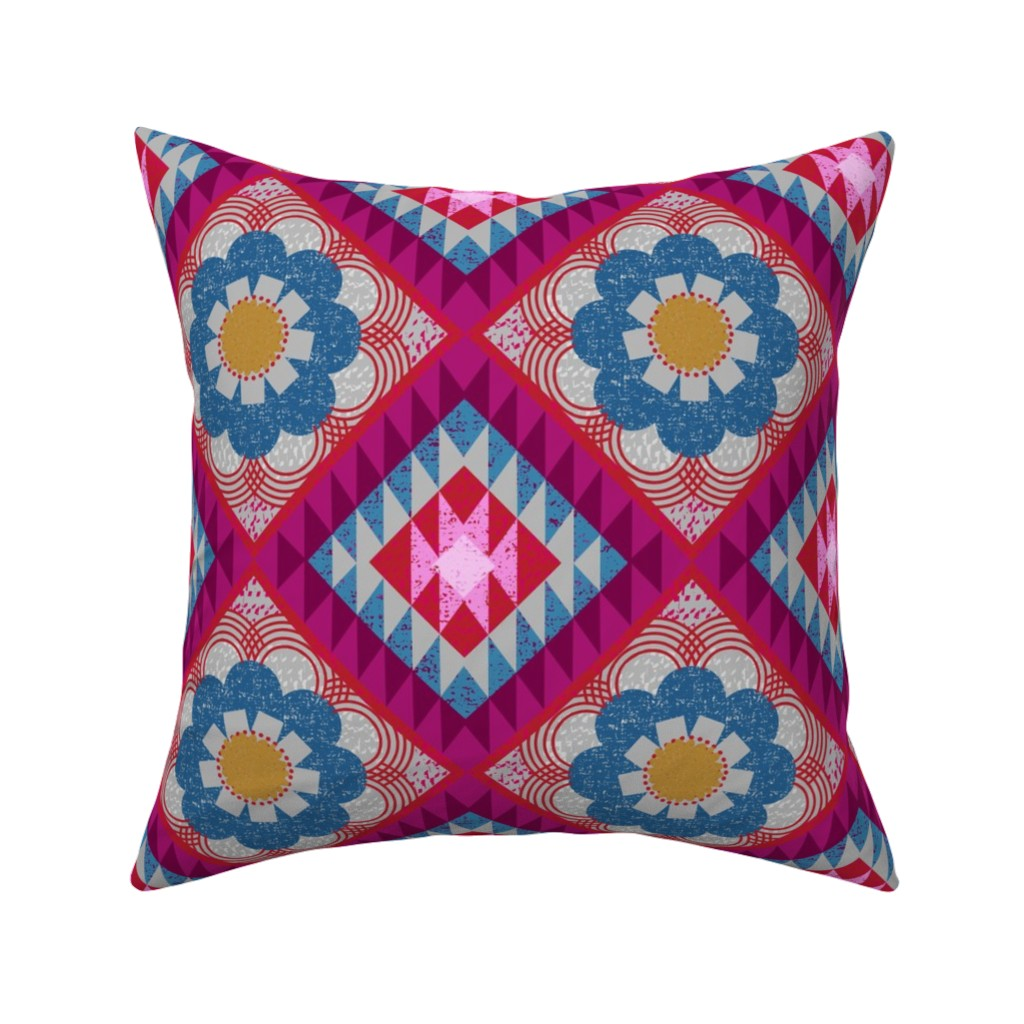 Catalan Throw Pillow featuring mod floral kilim by ottomanbrim