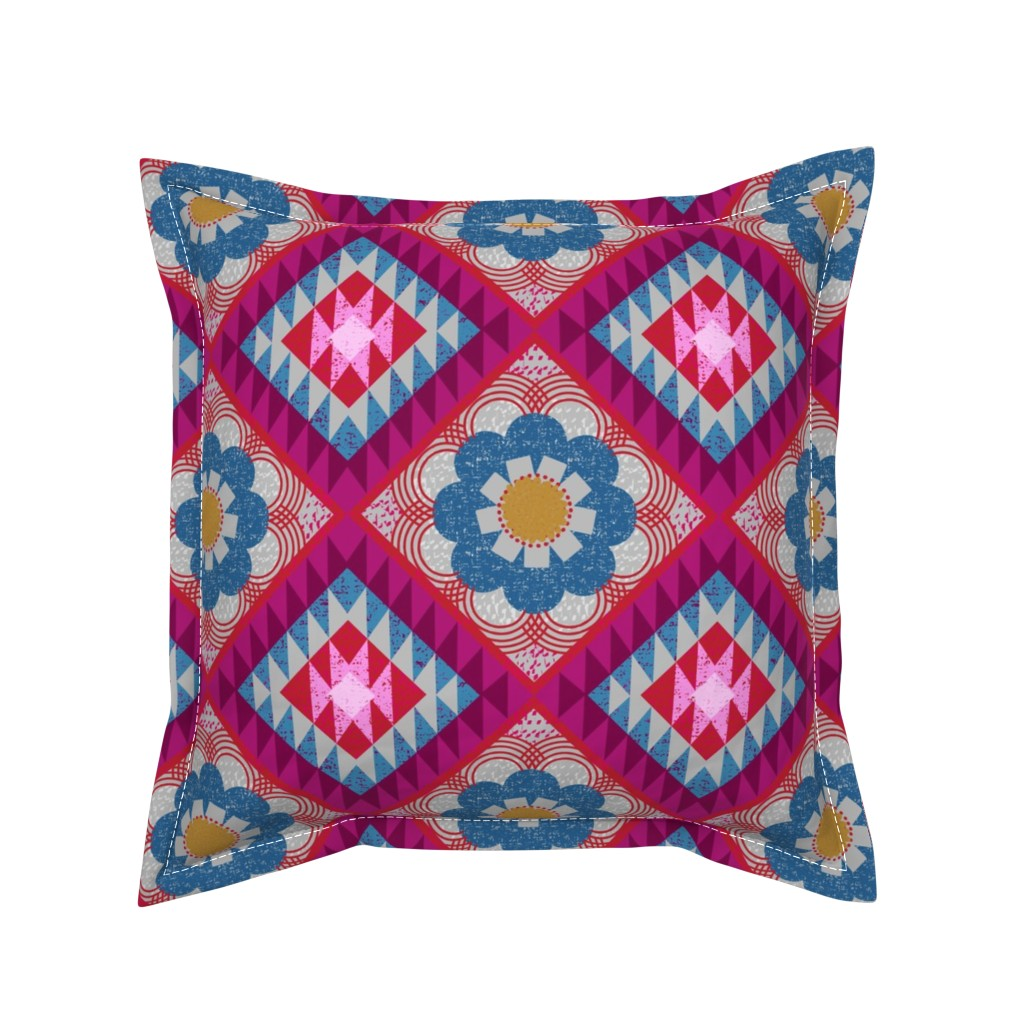 Serama Throw Pillow featuring mod floral kilim by ottomanbrim