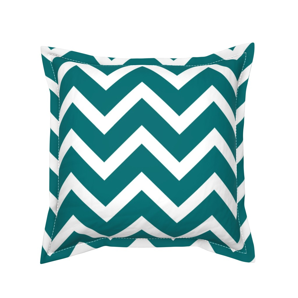 Serama Throw Pillow featuring large teal chevron by amybethunephotography