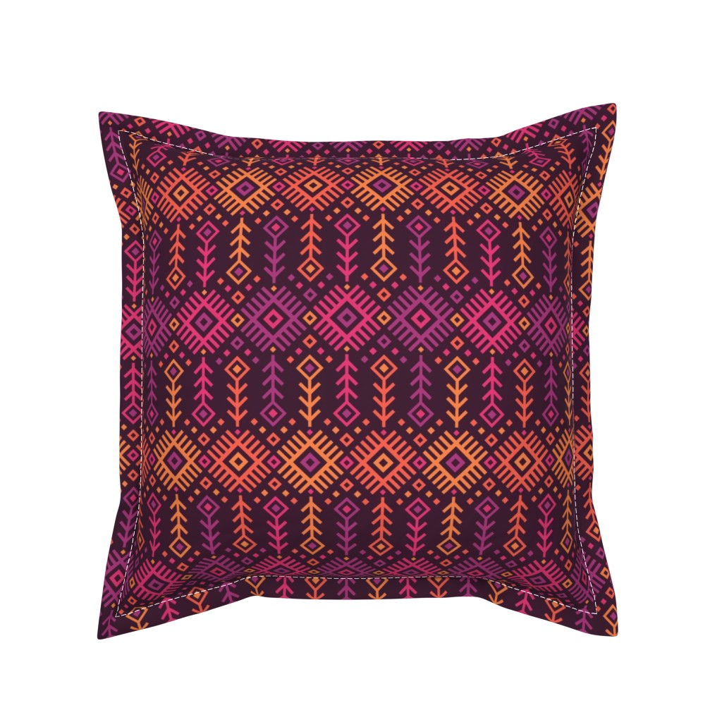 Serama Throw Pillow featuring Kilim Sunset by robyriker
