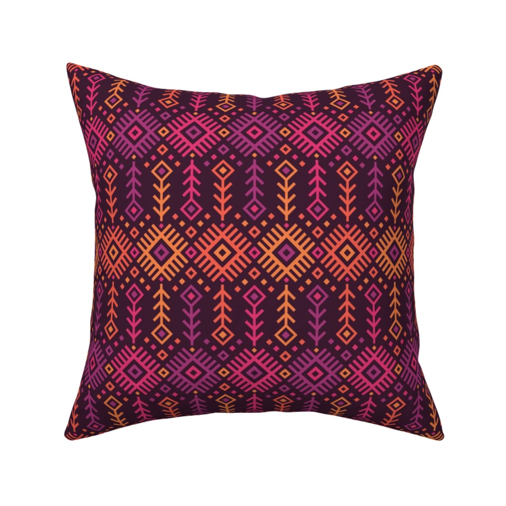 Catalan Throw Pillow featuring Kilim Sunset by robyriker