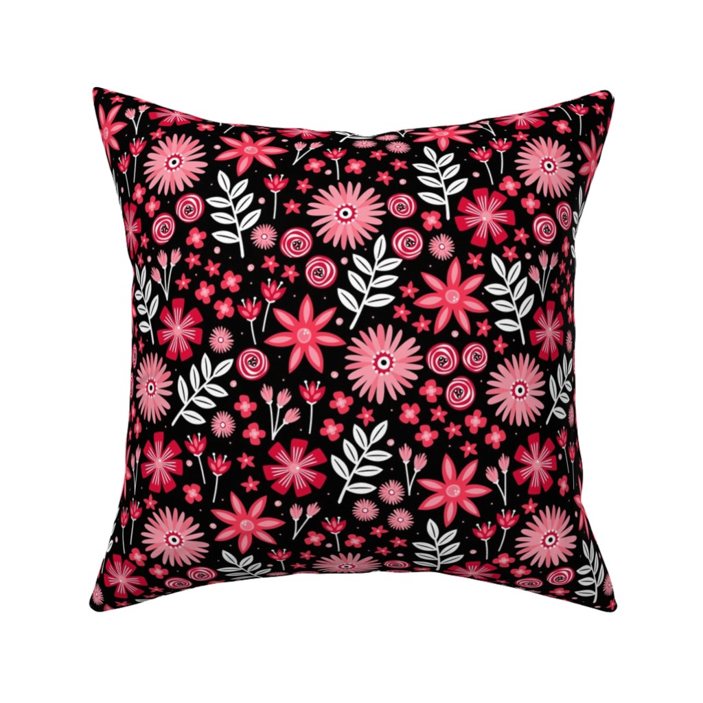 Catalan Throw Pillow featuring Valentine's Bouquet (Black) by robyriker