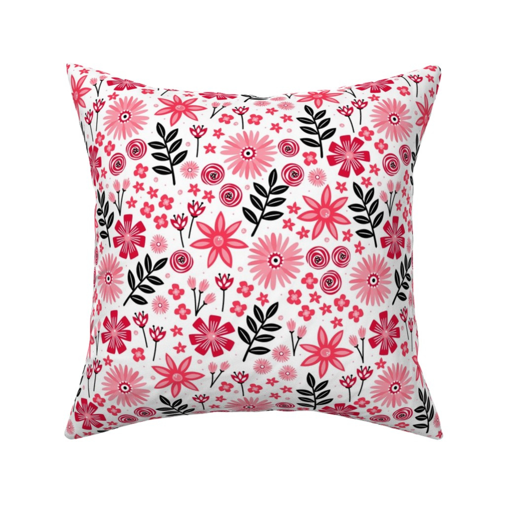 Catalan Throw Pillow featuring Valentine's Bouquet (White) by robyriker