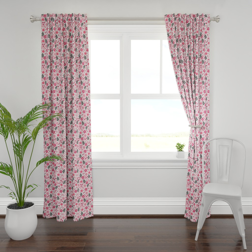 Plymouth Curtain Panel featuring Valentine's Bouquet (White) by robyriker