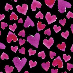 Valentines Day Love Hearts on Black