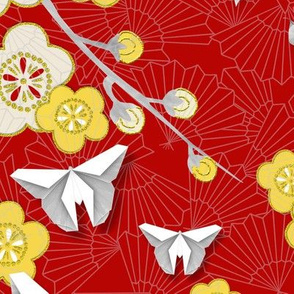 Japanese Floral with Butterflies