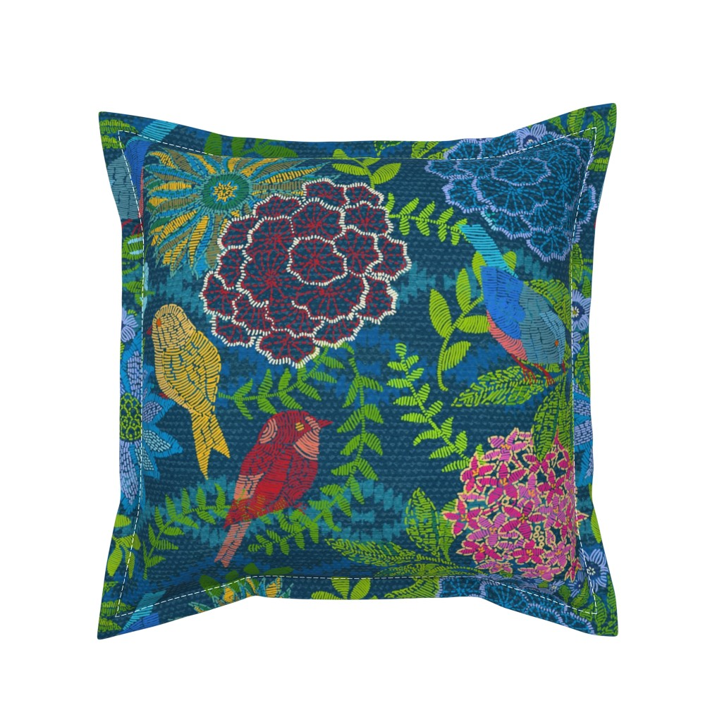 Serama Throw Pillow featuring Kilim Garden Loom by honoluludesign