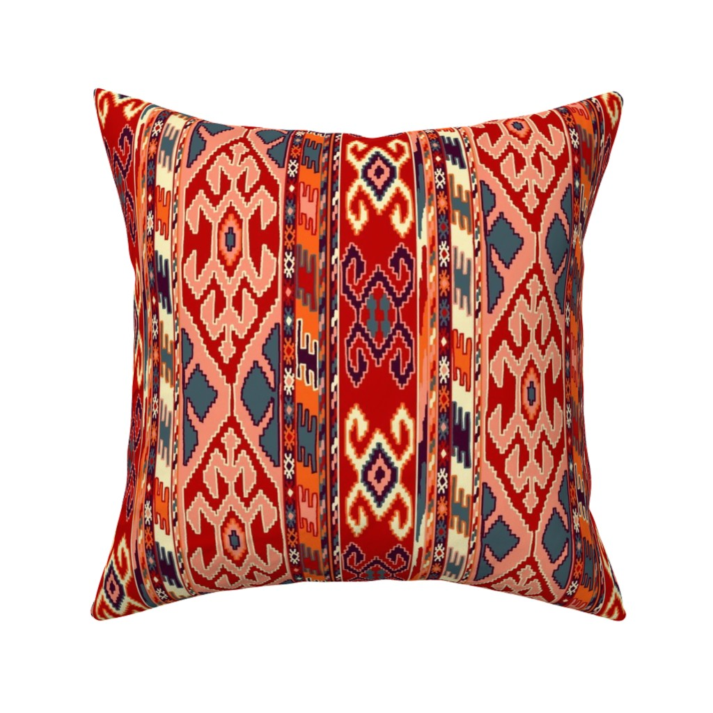 Catalan Throw Pillow featuring kilimrug by letizia_rossi_