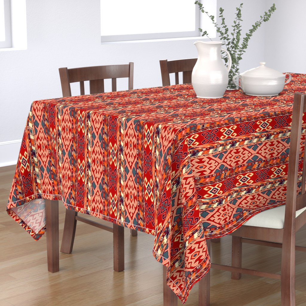 Bantam Rectangular Tablecloth featuring kilimrug by letizia_rossi_